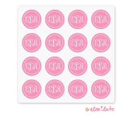 Printable Monogram Stickers or Seals – Pink