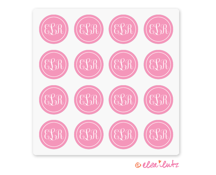 Printable Monogram Stickers or Seals – Pink
