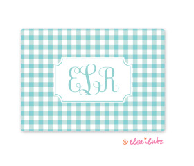 Printable Monogram Note Card Aqua