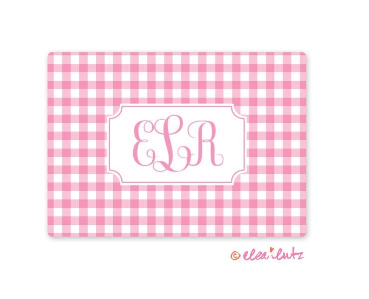 printable monogram note card pink