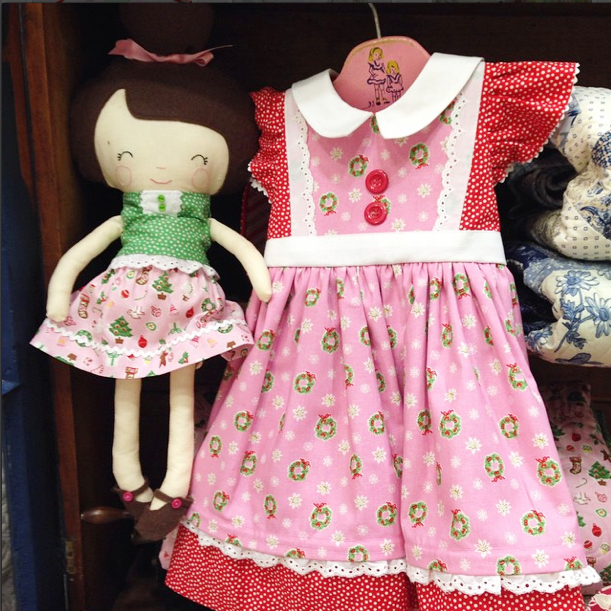 A darling doll and Christmas dress made with Little Joys by my sweet and gifted friend, Roberta, here in Arizona.